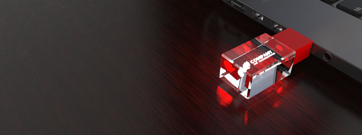 Crystal USB Stick 3D in rot mit LED