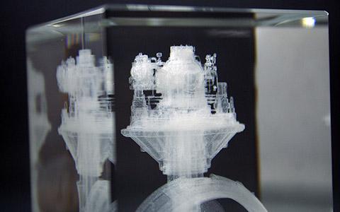 3D Glasblock mit Glasinnengravur