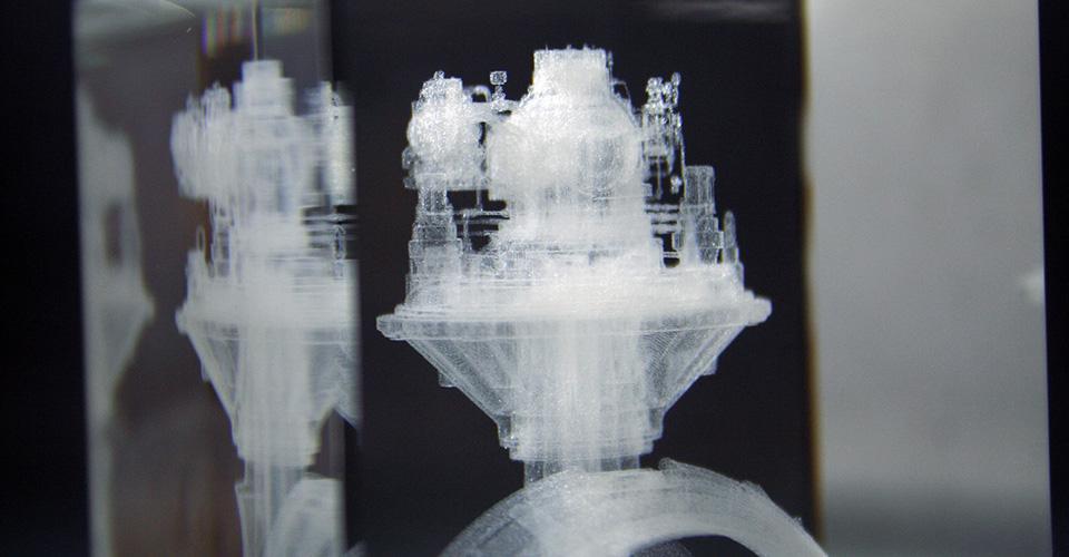 Glasinnengravur eines Glasquaders