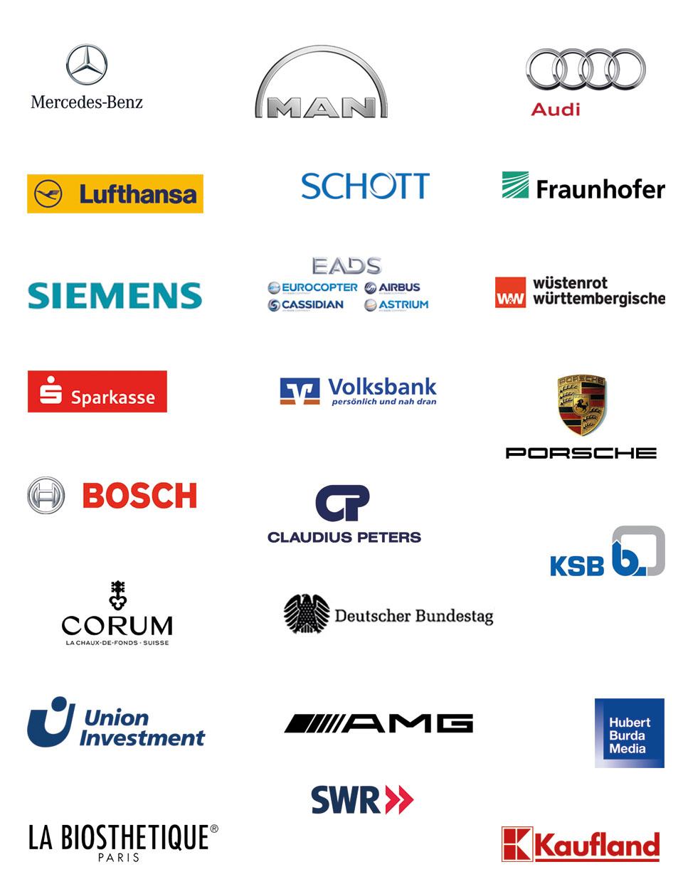 Logos von verschiedenen Unternehmen