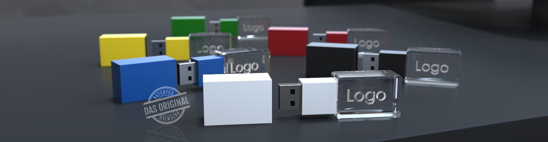 Mehrere verschieden farbige USB Sticks 3D Crystal Colour mit Deckel und Glasgravur