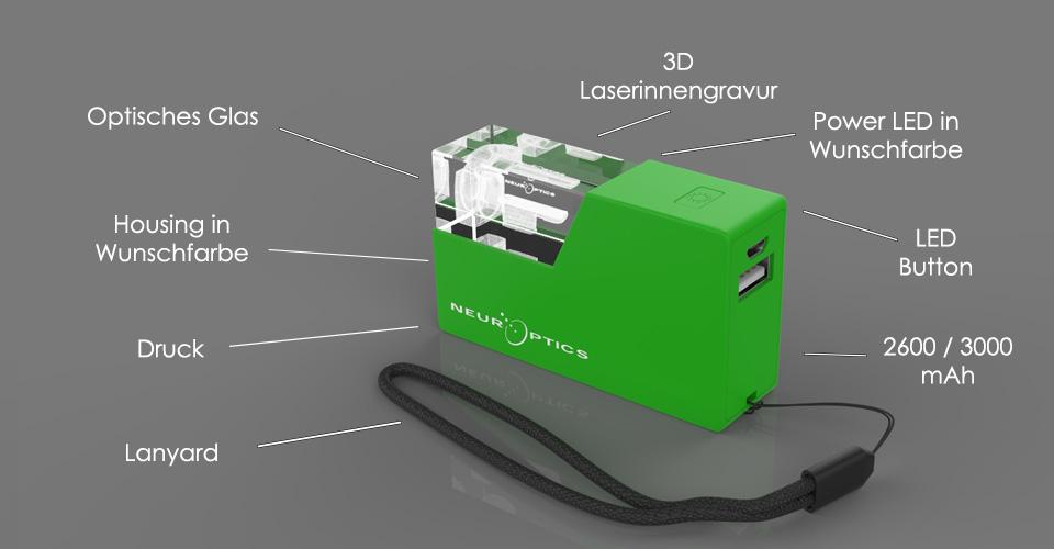 Grüne Crystal Powerbank 3D mit Glasfenster, Lasergravur und Beschriftung des Aufbaus