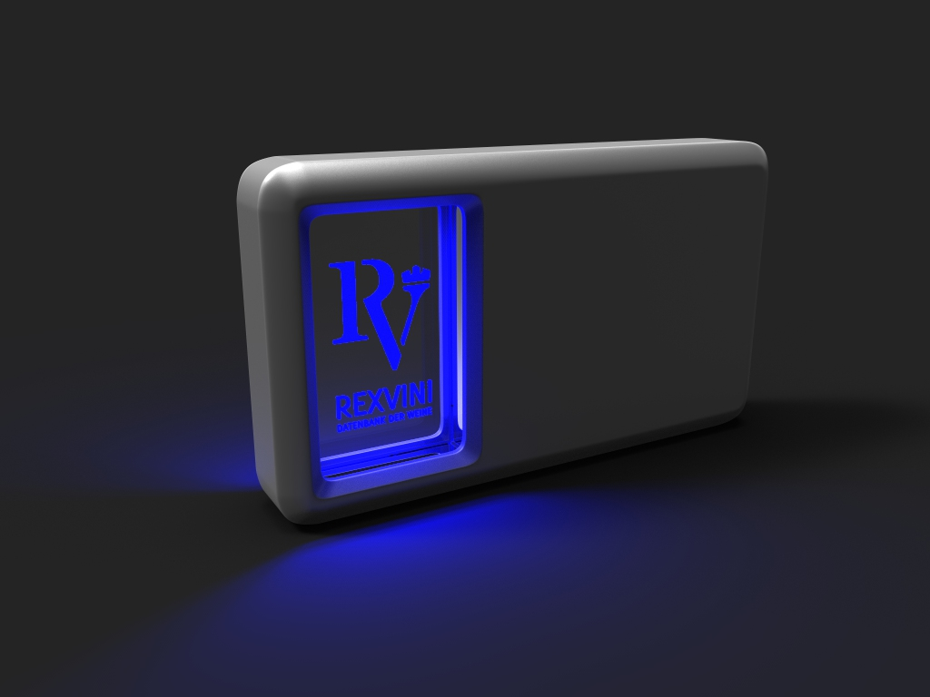 Crystal Powerbank Window Max mit Glasfenster, Lasergravur und blauer LED