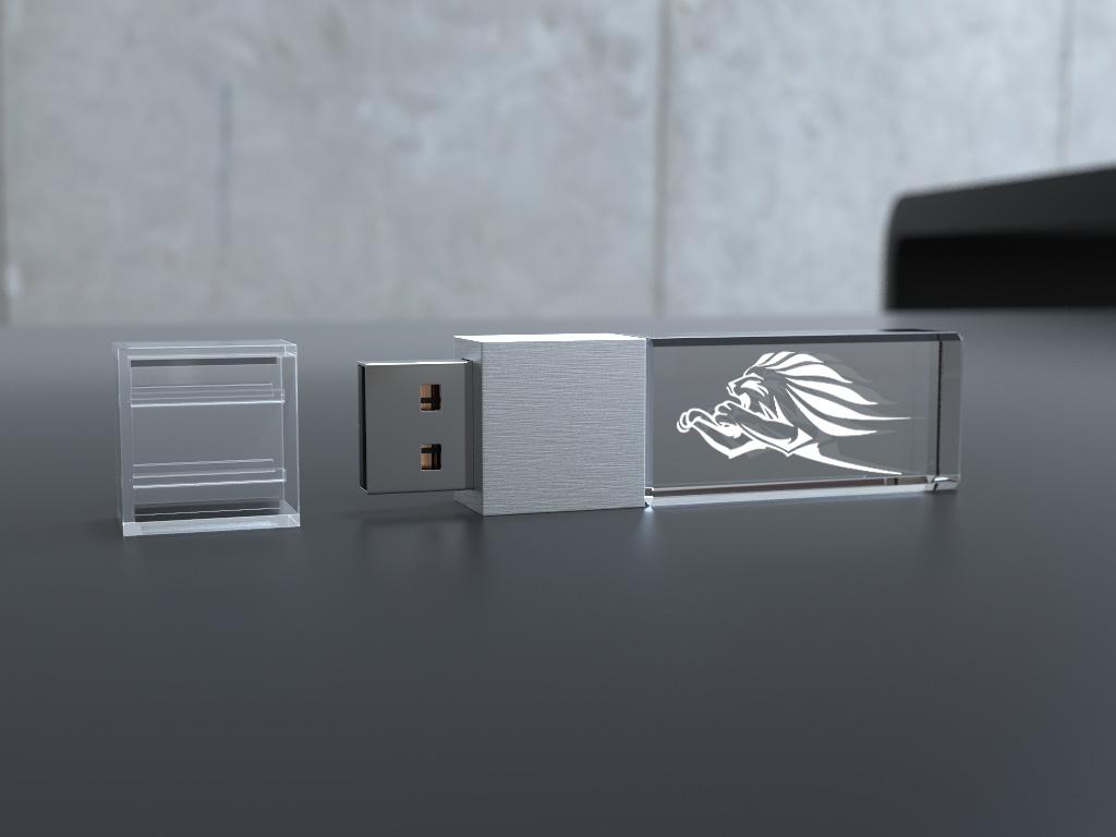 Crystal USB Stick Mini liegend mit Deckel und Glaskörper mit Gravur