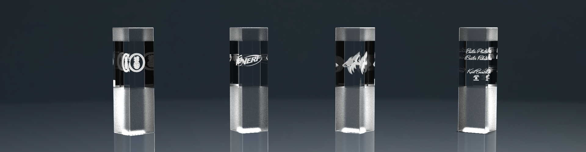 Vier Glaspokale Trophy Frost mit Lasergravur