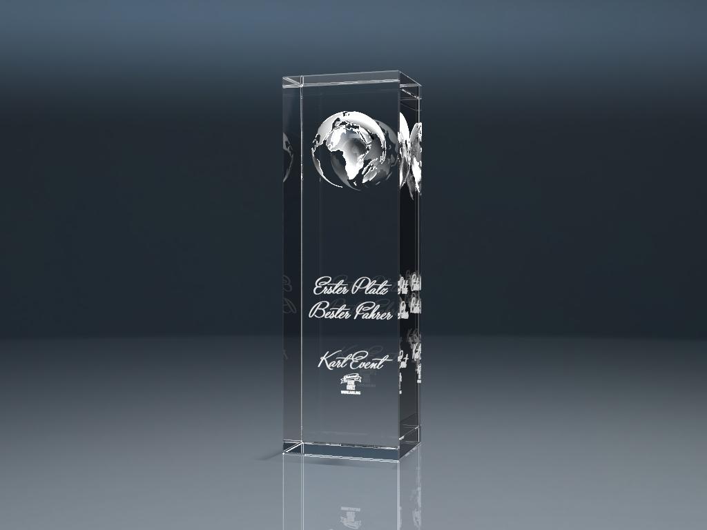 Glaspokal Trophy Globe mit Lasergravur
