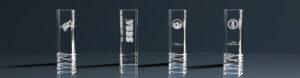 Vier Glaspokale Trophy Royal mit Lasergravur
