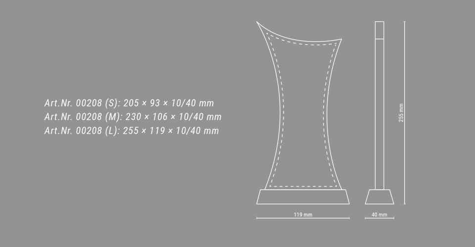Skizze des Glaspokals Trophy Cross mit Maßangaben