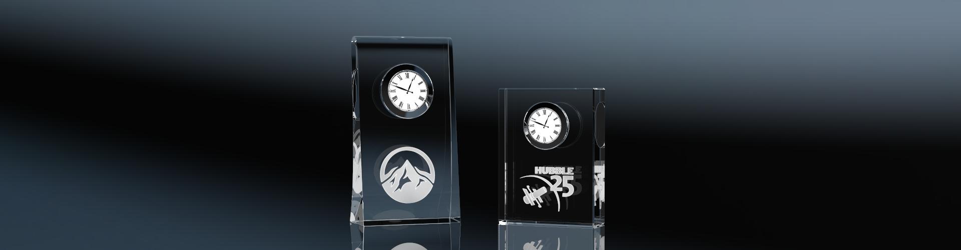 Glasuhren Clock Skew und Clock Biddy mit Lasergravur