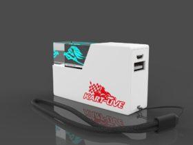 Weiße Crystal Powerbank 3D mit Glasfenster und Lasergravur