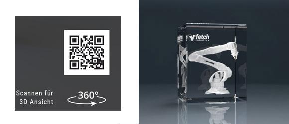 QR-Code und 3D Animation von einem Glasblock mit Gravur