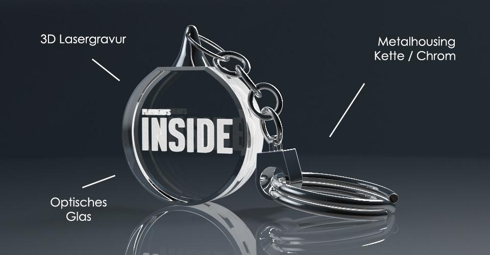 Runder Schlüsselanhänger aus Glas mit Lasergravur und Beschreibung der Bestandteile