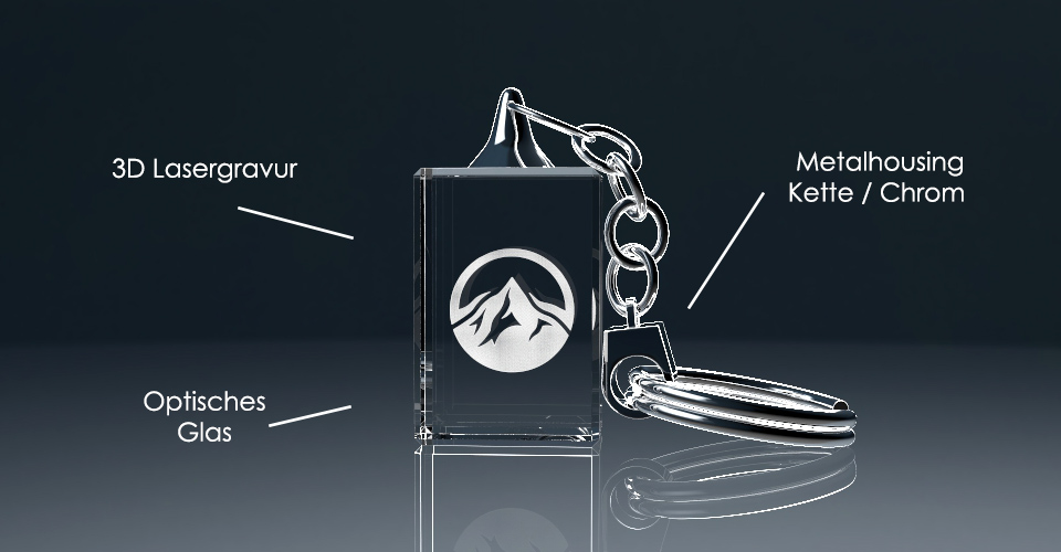 Schlüsselanhänger ohne Licht mit Lasergravur und Beschriftung der Bestandteile
