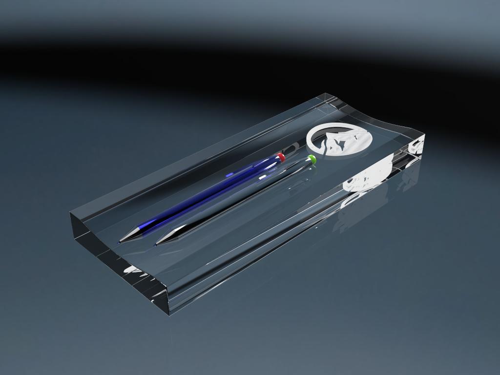 Stifteablage aus Glas mit Gravur und zwei Stiften