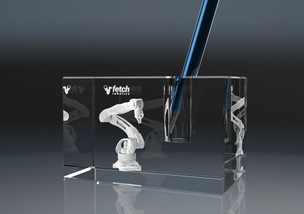 Stiftehalter aus Glas mit 3D Lasergravur und Stift