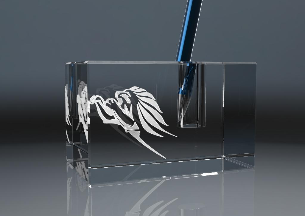 Stiftehalter aus Glas mit Lasergravur und Stift