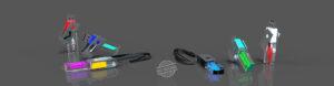 Mehrere USB Sticks Crystal Turn in verschiedenen Farben mit Metallbügel und Glasgravur