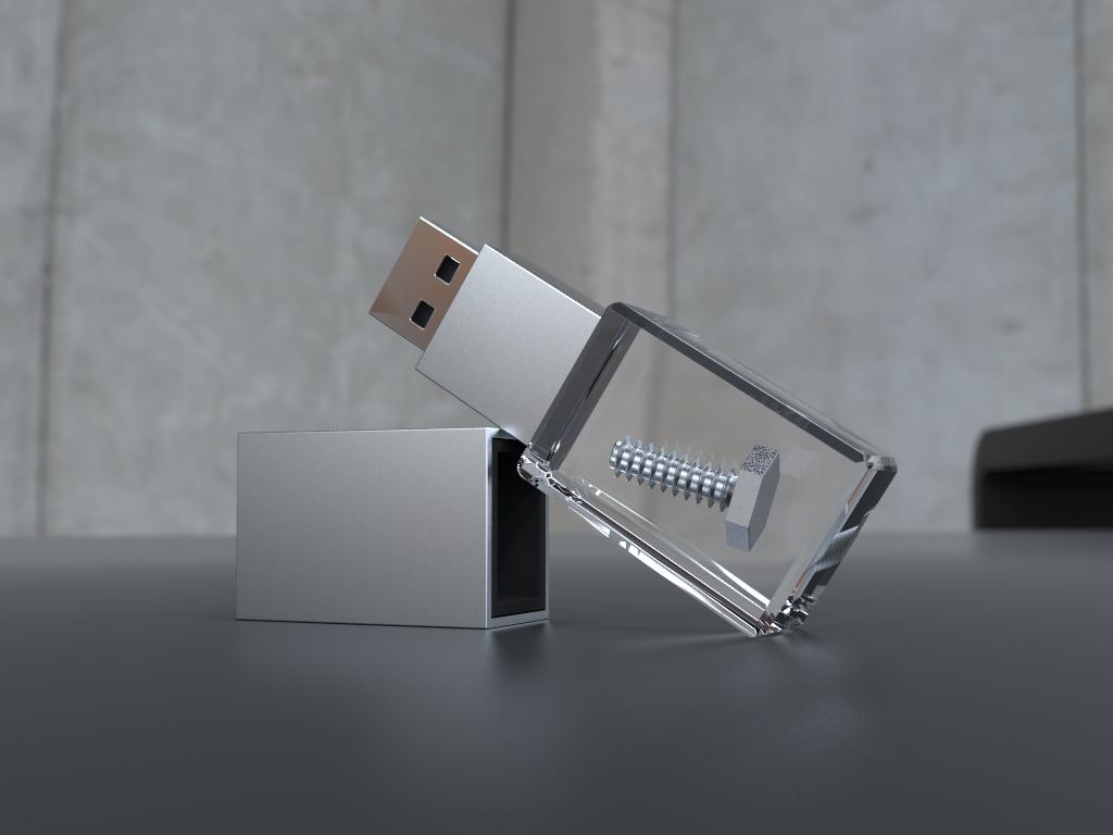 USB Stick Crystal Acryl halbliegend mit Metalldeckel und eingebettetem Objekt