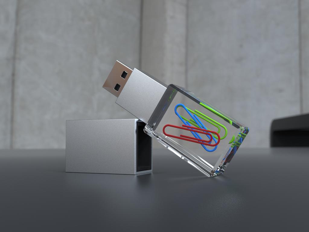 USB Stick Crystal Acryl halbliegend mit Metalldeckel und Acrylglaskörper mit eingebetteten Büroklammern