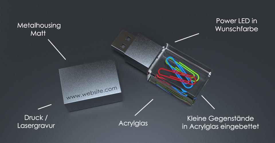 USB Stick Crystal Acryl mit Metalldeckel, eingebetteten Büroklammern und Beschriftung des Aufbaus
