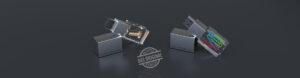 Zwei halbliegende USB Sticks Crystal Acryl mit eingebetteten Objekten