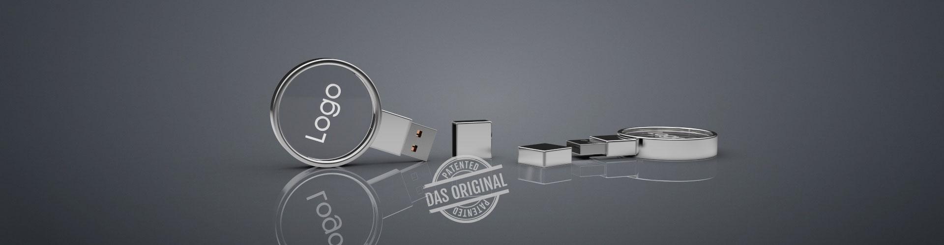 Zwei USB Sticks Crystal Circle aus Glas liegend