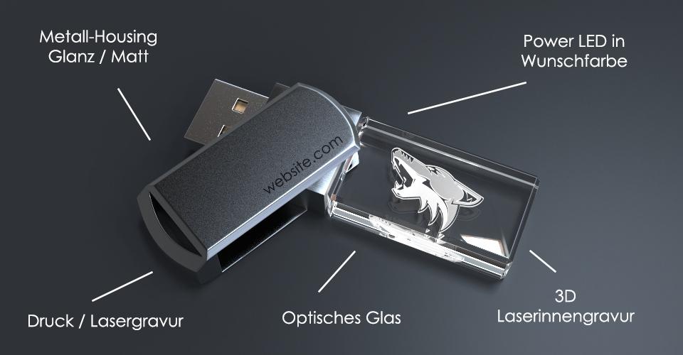 USB Stick Crystal Twister aus Glas mit Metalldeckel, Lasergravur und Beschriftung des Aufbaus