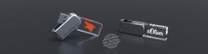 Zwei liegende USB Sticks Crystal Twister mit Metallbügel und Lasergravur