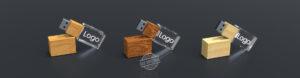 Drei halbliegende USB Sticks Crystal Wood mit Echtholz und 3D Laserinnengravur