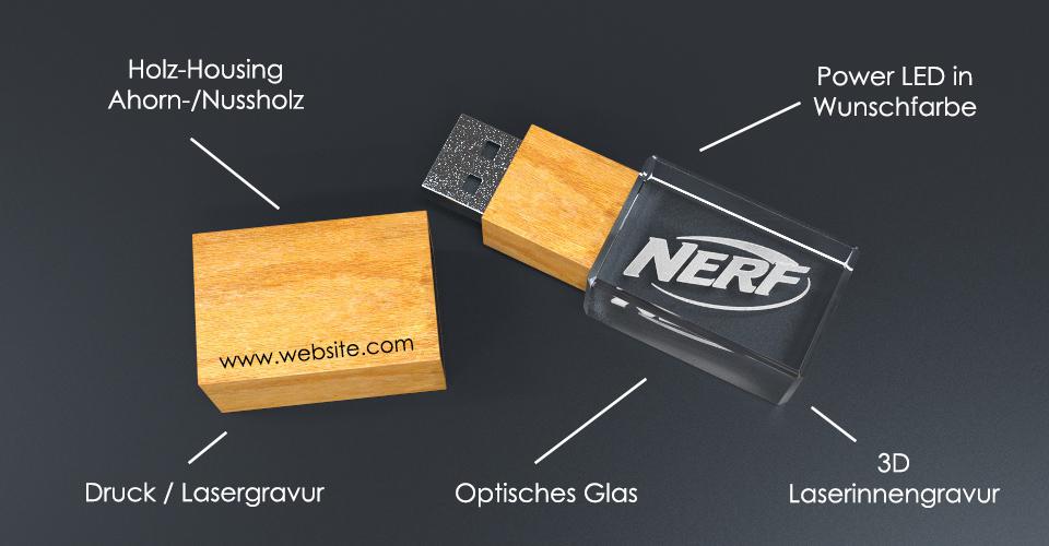 USB Stick Crystal Wood mit Holzdeckel, Lasergravur und Beschriftung des Aufbaus