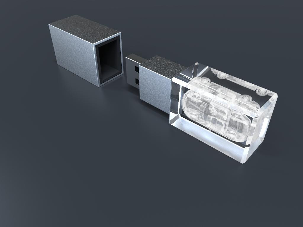 USB Stick Crystal 3D mit Deckel und Glaskörper mit 3D Gravur