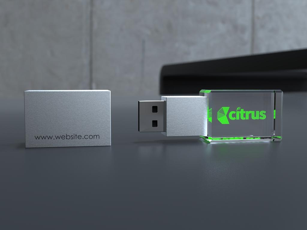 USB Stick Crystal 3D liegend mit Metalldeckel und Glaskörper mit Lasergravur
