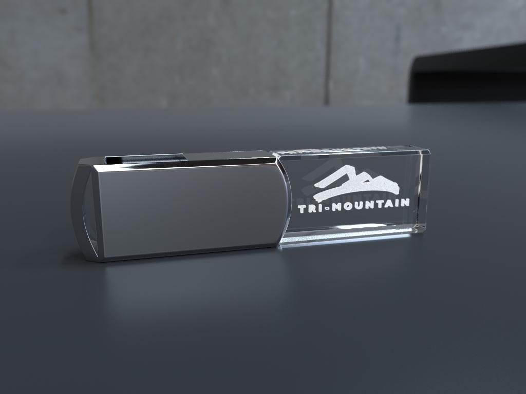 USB Stick Crystal Twister liegend mit Metalldeckel und Glaskörper mit Gravur