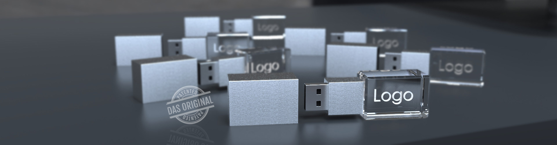Mehrere USB Sticks Crystal 3D aus Glas mit Gravur und LED Beleuchtung