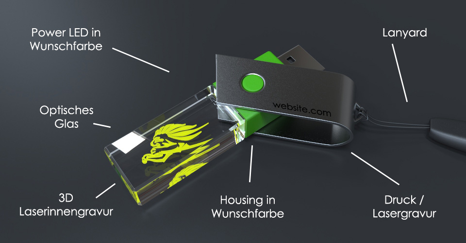 USB Stick Crystal Turn mit Metalldeckel und Glaskörper mit Gravur