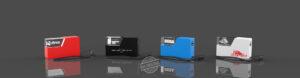 Vier Crystal Powerbanks 3D mit Gravur und LED Beleuchtung