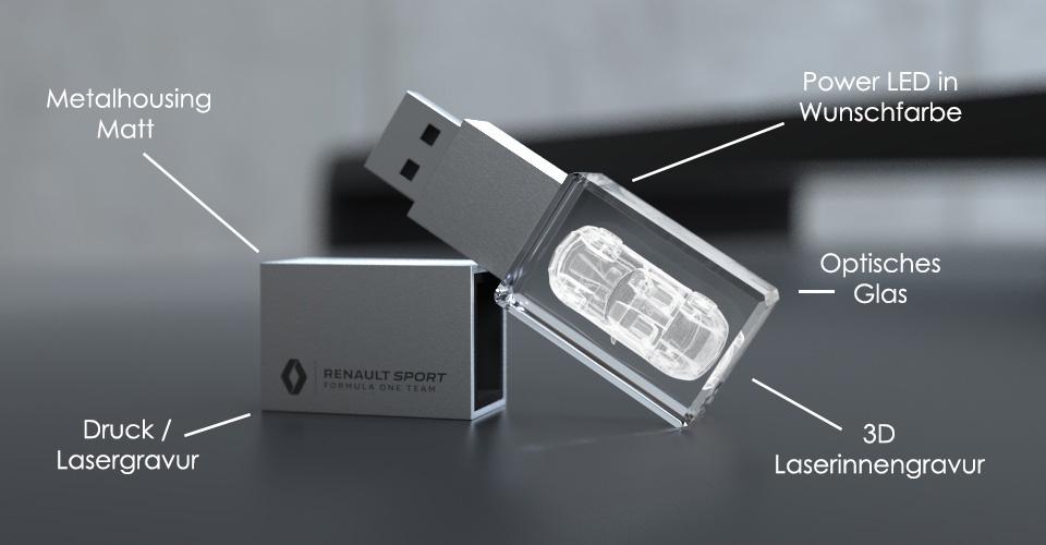 Crystal USB Stick 3D halbliegend mit Deckel und Glaskörper mit Lasergravur