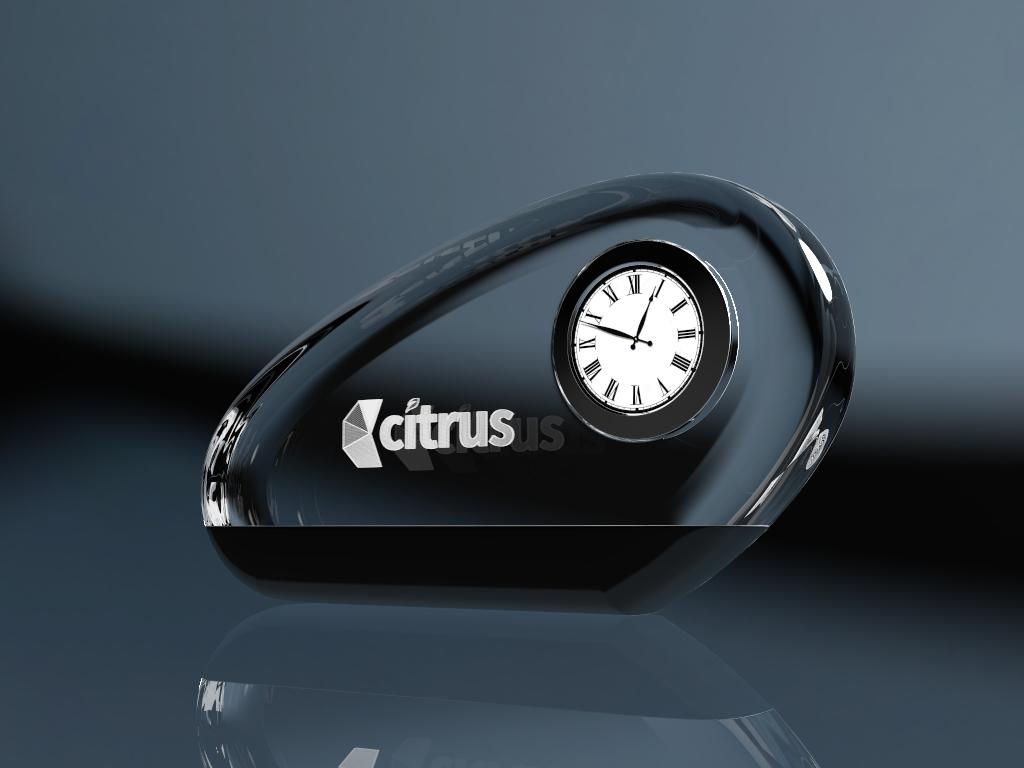 Glasuhr Clock Oval mit Lasergravur