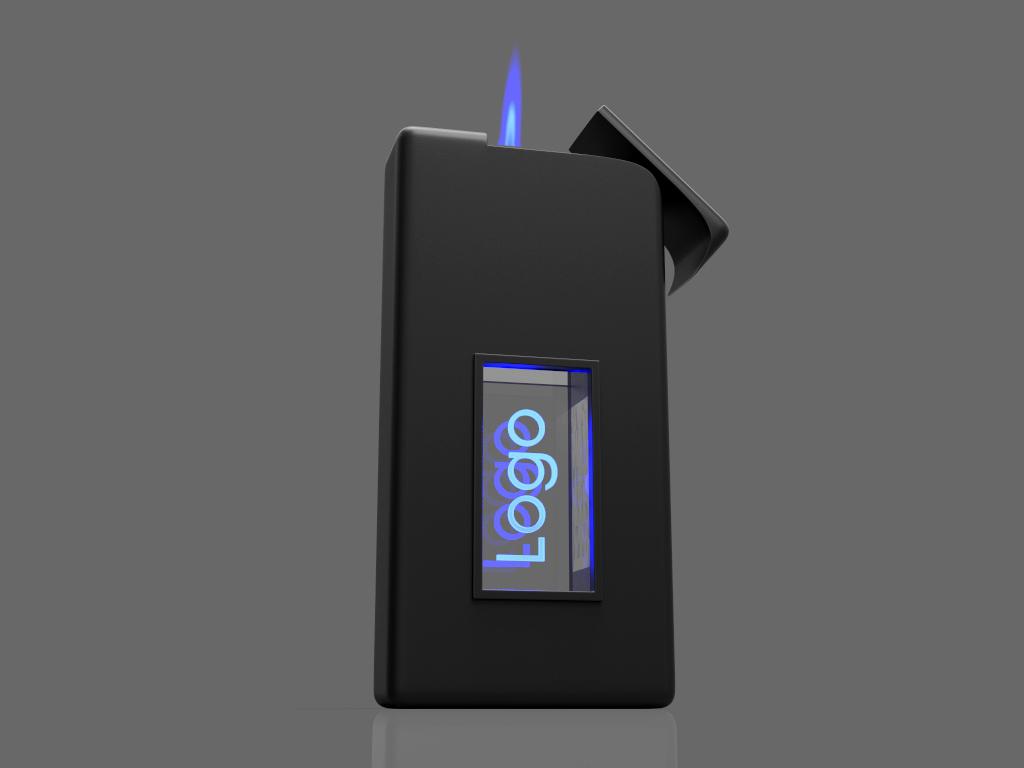 Stehendes Feuerzeug Lighter mit Glasfenster und Lasergravur