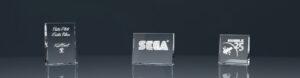 Drei Glaspokale Trophy The Best mit Lasergravur