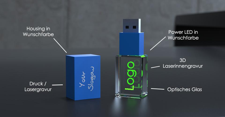 USB Stick 3D Crystal Colour mit Beschriftung des Aufbaus