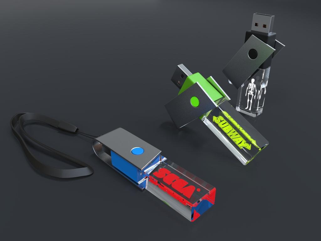 Halbliegende USB Sticks Crystal Twister mit Gravur und Metallbügel