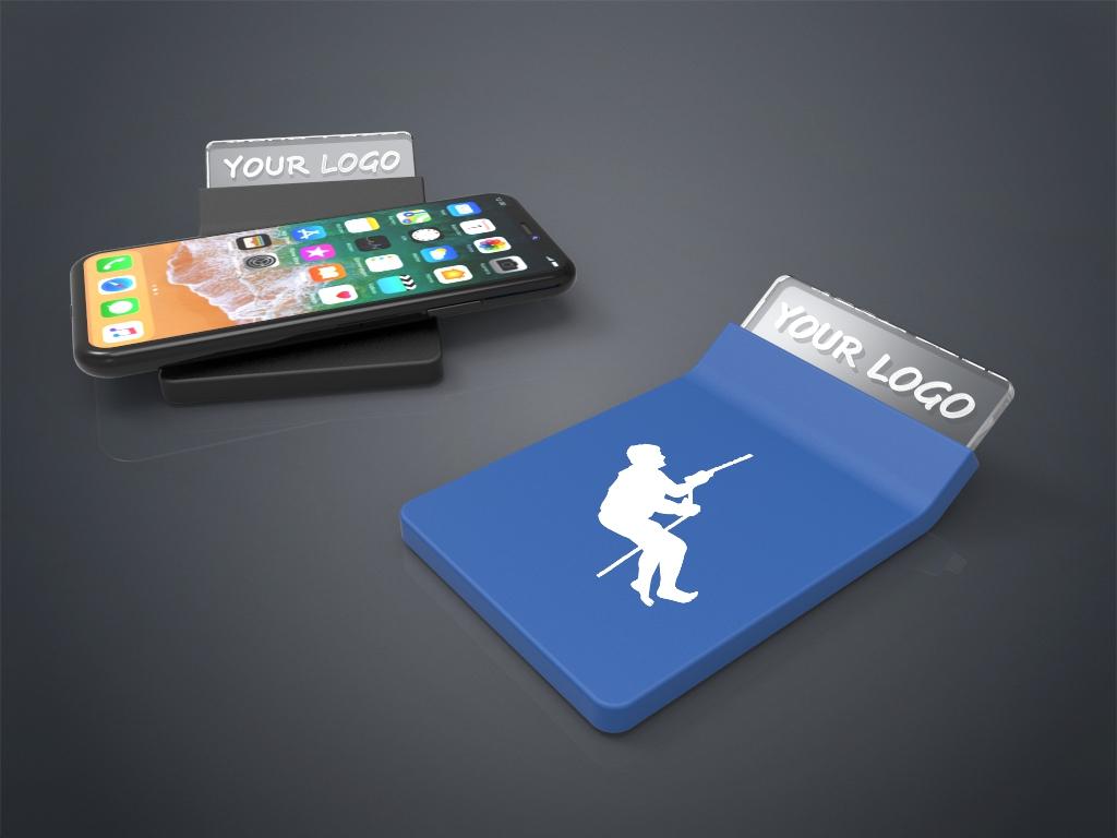 Zwei Crystal Wireless Charger in blau und schwarz mit Gravur