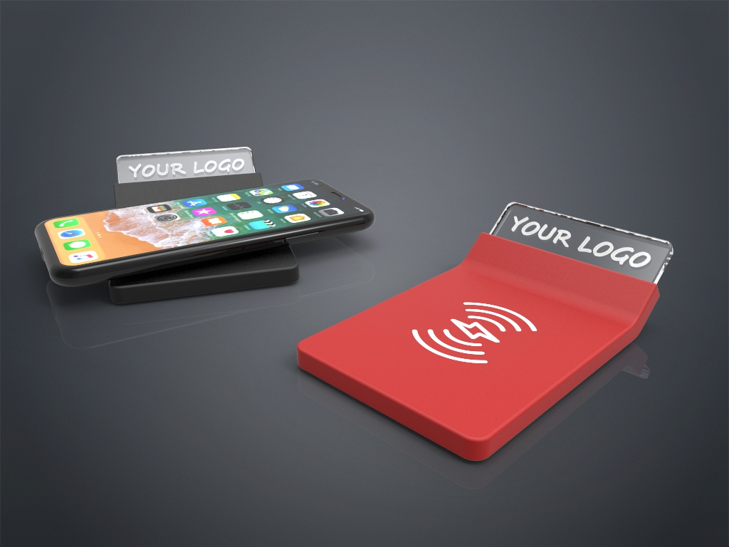Zwei Crystal Wireless Charger in rot und schwarz mit Gravur