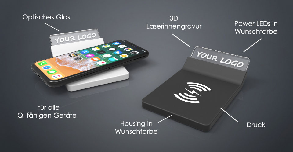 Zwei Crystal Wireless Charger aus Glas mit Beschriftung der Bestandteile