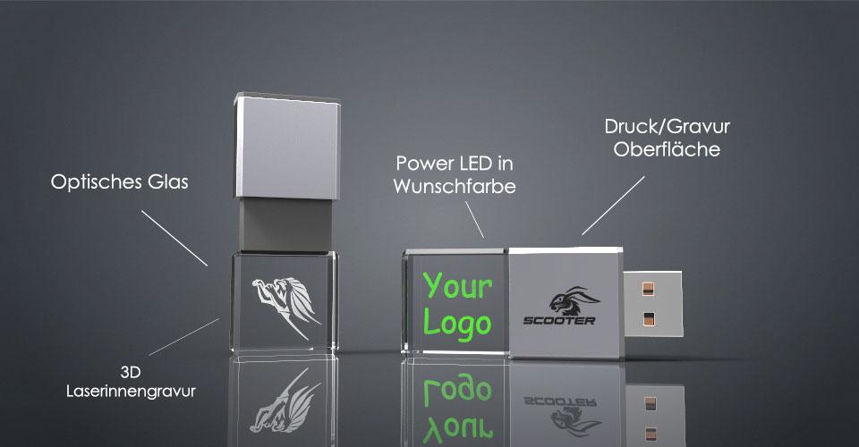 Zwei Crystal USB Sticks Slide aus Glas mit Deckel und Gravur