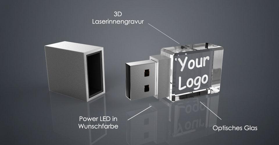 Crystal USB Stick Square aus Glas mit Deckel und Erklärung des Aufbaus