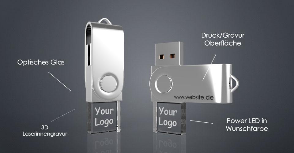 Zwei USB Sticks Twini aus Glas mit Metallbügel und Gravur