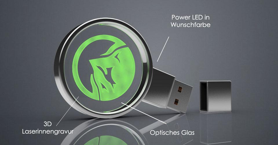 USB Stick Crystal Circle aus Glas mit Gravur und LED Beleuchtung