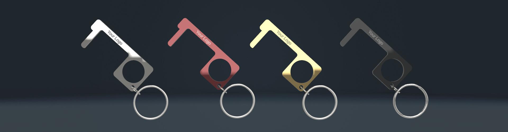 Türöffner Hygienehaken aus Metall mehrfarbig mit Schlüsselanhänger